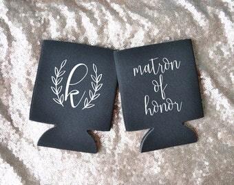 Matron of Honor / Initial Premium Foam Can Cooler - Matron of Honor Can Cooler - Bridal Party Can Cooler