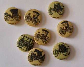 8 Meduim  Wooden Horse and  Buggy Carriage  Buttons - #WS-00121