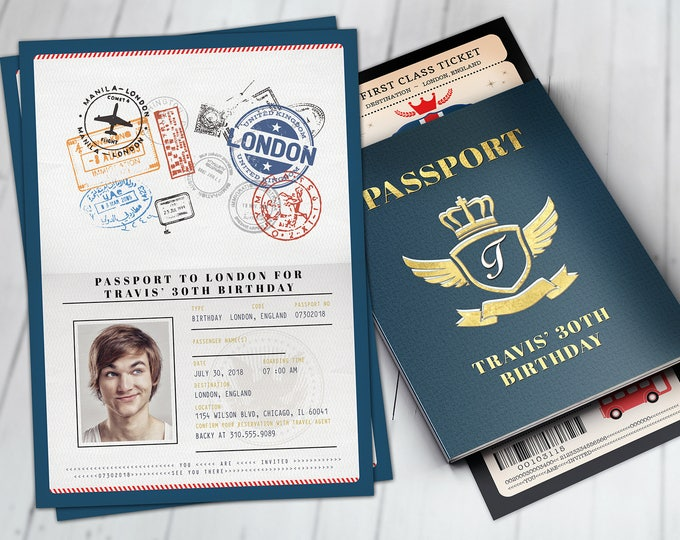 London, passport and ticket, birthday invitation, travel birthday party invitation, Union Jack, England, British, Digital files only