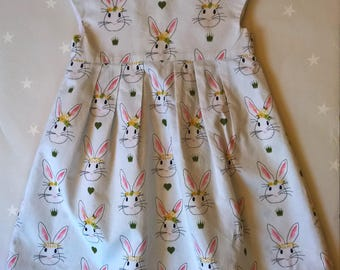 100% Cotton Girls Bunny Dress Age 2T with faux cap sleeve