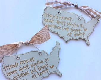 USA friends forever ornament - moving away gift