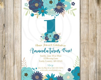 FLORAL 1st BIRTHDAY Invitation, Girl First Birthday Invite, ONE Birthday, Navy Blue Teal Flowers, Whimsical Birthday Tea, Bohemian Invites