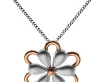 Sterling Silver Gold Vermeil Daisy Flower Necklace
