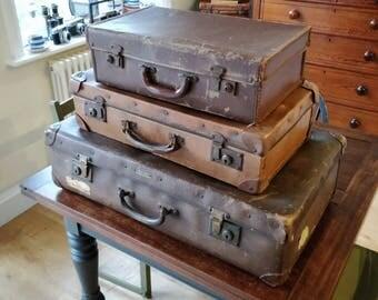 3 vintage suitcase, vintage decor, wedding decor, trunk, vintage luggage, travel case, brown leather cases, set of cases, home decor,