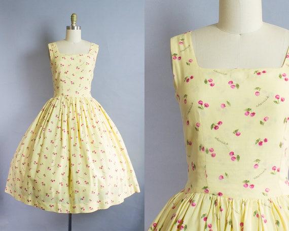 1950s Cherry Print Sundress/ Medium/ Large (35B/29W)