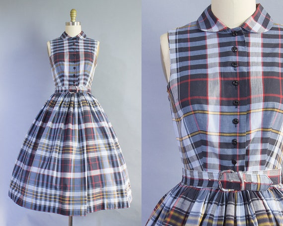 1950s Plaid Shirtdress w/ Peter Pan Collar | Small (34B/26W)