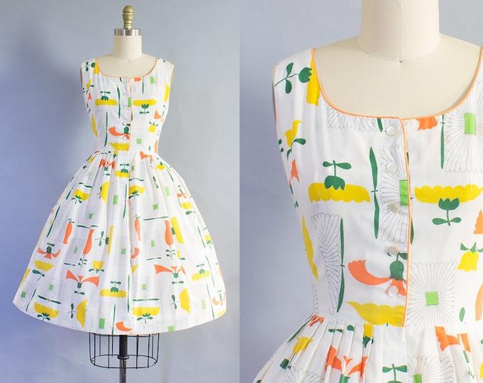 1950s Floral Cotton Dress/ Medium (35B/28W)