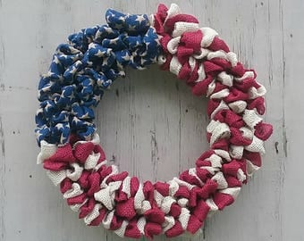 Patriotic Wreath, America, Flag, Stars and Stripes, Burlap Wreath, July 4th, Patriotic, Red, White, Blue, Americana, Wreath, Home Decor