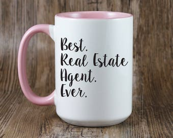 Best Real Estate Agent Ever Large Jumbo 15 oz Coffee Mug - Choose Mug and Print Color & Font - Great Real Estate Agent Realtor Gift (OHC54)
