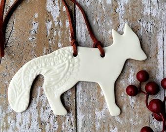 Fox gift, hygge gift, porcelain Christmas decoration, handmade fox decoration, arctic fox gift, hygge fox, hygge decoration, fox ornament