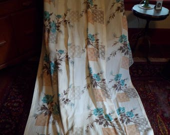 "Vintage 1940's/50's (2) Curtain Drape Panels Pinch Pleats 86"" Lovely Mid Century Floral Design!"