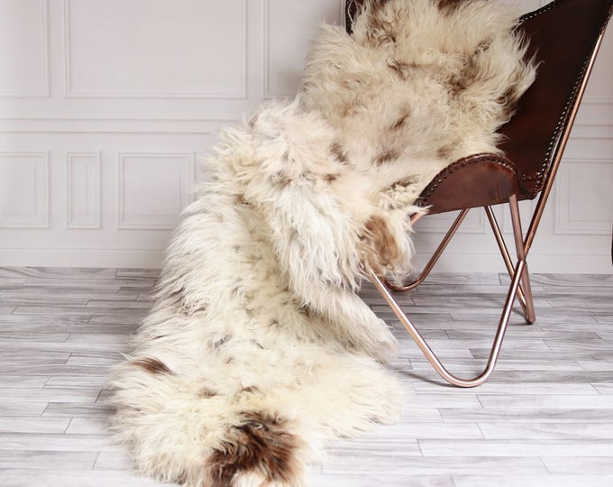 Double Sheepskin Rug | Long rug | Shaggy Rug | Chair Cover | Runner Rug | Brown Rug | Carpet | Beige Sheepskin