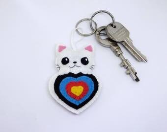 Archery keychain, cat keychain, kawaii keychain, archery charm, kawaii cat, quiver ornament, archery quiver, archery target, target ornament