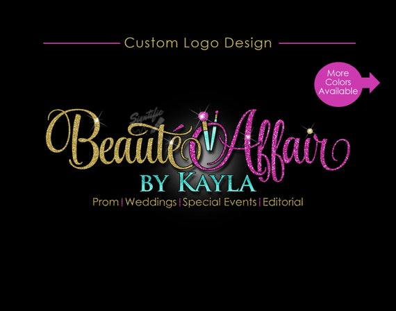 Glitter bling Makeup Logo, Custom Glitter Gold and Fuchsia Logo with Sparkles, Bling Gold Shimmer Logo, Gold, Pink Glitters Makeup Artistry