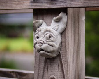 Garden Pug Statue on Windy Day