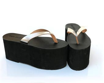 platform sandals for men, platform flip flops, leather upper, synthetic sole, statement sandals, costume cosplay, 4 inch 10cm tall