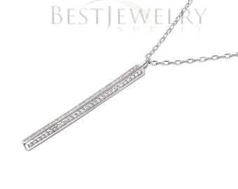Sterling Silver Rhodium Plated Vertical Bar CZ Pendant Necklace