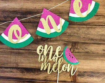 Watermelon One High Chair Banner - One in a Melon - Watermelon Party - Summer Birthday - First Birthday - Tutti Fruitti Party - Party Decor
