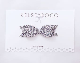 Black and White Iridescent Glitter Bow