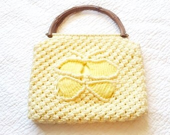 Vintage Macrame Butterfly Purse - Top Handle Handbag - Boho Festival - Hand Knotted - 1960s 1970s - Faux Bamboo - Handmade - Summer Spring