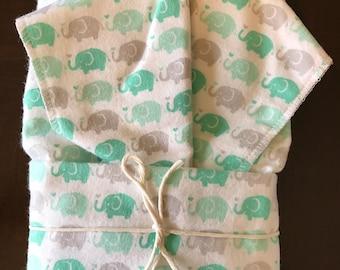 Elephant Oversize Swaddle Blanket and Burp Cloth Set
