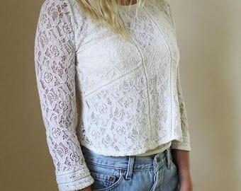 SALE Boho Hippie Vintage Sheer Lace Crop Top Cream Edwardian Antique Avant Garde High Fashion Blouse Top