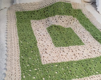 Green/Ivory Lacy Baby Blanket 100% Cotton