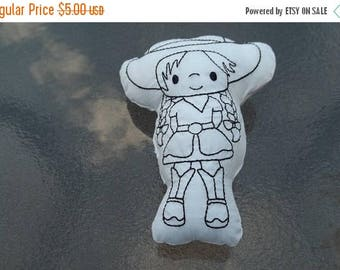 On sale Cowgirl  Coloring Stuffie : Coloring . Plushie .Washable . Reusable . Party Favor .