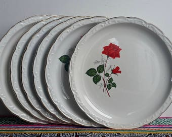 Assiettes vintage Digoin-Sarreguemines roses rouges et bords plats