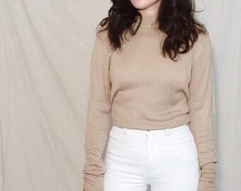 RIBBED SILK SWEATER // Vintage 90s Minimalist 100% Silk Pullover Mockneck Sweater Gold Tan Neutral Size S-L