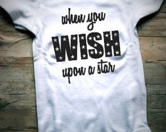 When You Wish Upon A Star Baby Bodysuit - Star Baby Clothing - Solar System Baby Clothing - Universe Baby Clothing - Stars - Wishing - Wish