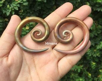 Antique Metallic Earth Glass Super Spirals  4g 2g 0g 00g  5 mm 6 mm 6.5 mm 8 mm 9 mm 9.5 mm