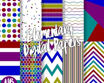 DIGITAL PAPERS, geometric pattern papers, stripes, polka dots, confetti, chevron, red, blue, lime, teal, purple, scrapbook, instant download
