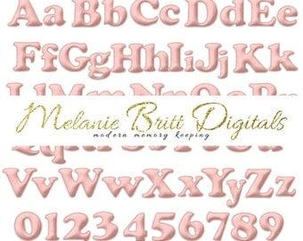 PINK felt alphabet, baby pink alphabet, baby girl, baby shower, felt alphabet clipart, digital alphabet, printable pdf, INSTANT DOWNLOAD