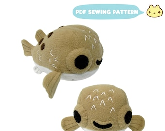 Stuffed Animal Pattern, Plush Sewing Pattern, Puffer Fish Pattern, Pufferfish Toy, Blowfish Plushy Sewing, Fish Toy Pattern, Fish Sewing