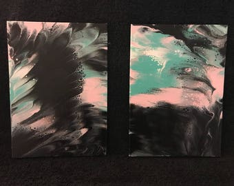 "Beauty in Darkness 2- 5""x7"" - Fluid Acrylic Paintings - Abstract"