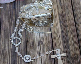 FAST SHIPPING!! Beautiful Rosary with case, Necklace rosary, Wedding Rosary, Rosary Gift, Communion Rosary, Confirmation Rosary