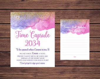 Time Capsule Sign and Card, First Birthday Time Capsule, Baby's Time Capsule Pink Purple and Gold PDF Printable