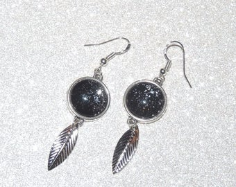 Earrings ' Silver 925 black painted glitter cabochon and leaf earrings