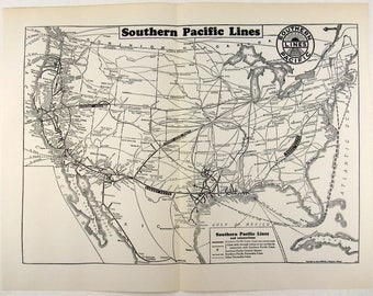 Map: Southern Pacific Lines Railroad System Map 1937