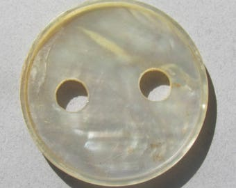 Antique Pearl Button With Two Large Holes