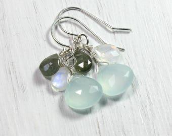 Dangling Chalcedony Earrings, Blue Earrings, Gemstones, Ocean Jewelry Women, Seaside Summer Jewelry, Beach Wedding Jewelry Bridesmaids