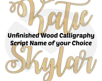 Unfinished Wood Calligraphy Script Name Laser Cut, Smaller Sizes, Nursery Decor, Room Decor