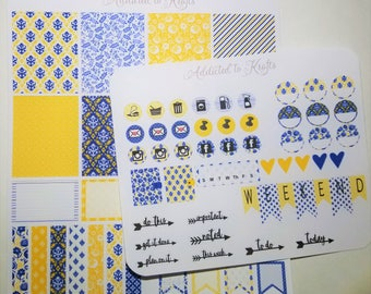 Bright Yellow & Blue Sticker Kit/Planner Kit/Planner Stickers/ Weekly Layout/ Planner Stickers for ECLP/ Filofax/Websters/Happy Planner