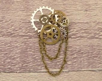 Steampunk Brooch, Cog Brooch, Steampunk Pin, Cog Pin, Steampunk Jewellery, Cog Jewellery, Steampunk Jewelry, Cog Jewelry, Dieselpunk Brooch