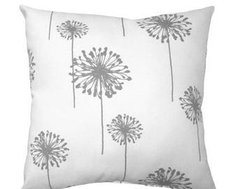 SALE Dandelion Pillow Cover - Gray and White Throw Pillow - Gray Floral Accent Pillow - Dandelion Storm Grey Floral Decorative Throw Pillow