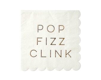 Pop Fizz Clink Napkins - disposable fun gold tableware