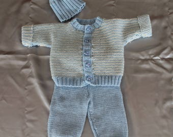 knit together, pants and vest, blue, doll, baby corole ttricote hand
