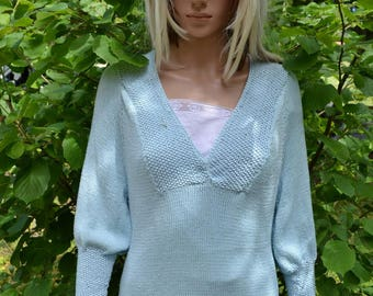 hand knitted bamboo and cotton top
