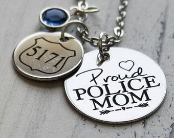 Proud Police Wife Or Mom Personalized Necklace - Engraved